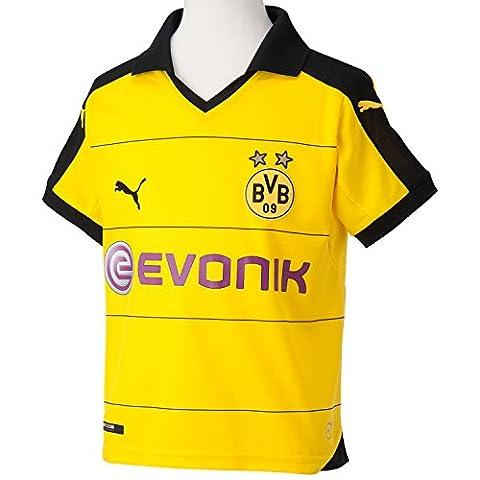 PUMA Kinder Trikot BVB Home Replica Shirt with Sponsor, Cyber Yellow/Black, M (Kinder), 140, 748000