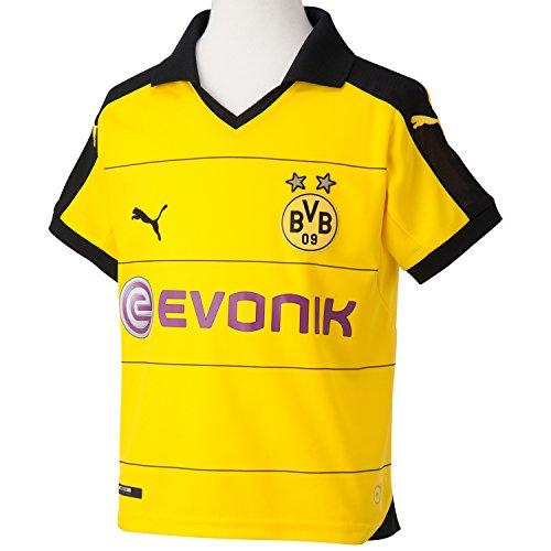 PUMA Kinder Trikot BVB Home Replica Shirt with Sponsor, Cyber Yellow/Black, S (Kinder), 128, 748000 01