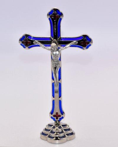 Silber stehend Kruzifix Metall mit Emaille blau & rot–BLESSED in Lourdes