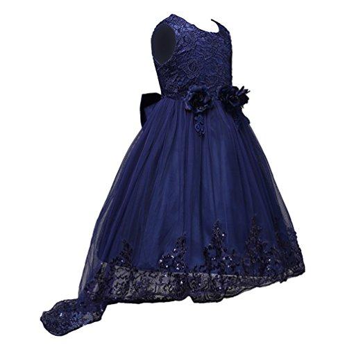 LINNUO Mädchen Prinzessin Brautjungfer Kleid mit Blumen Pailletten Gestickt Festliche Party Kleider (Navy Blau, 160 CM) (Kinder Navy Kleider Brautjungfer)