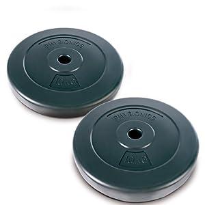 Physionics Hantelscheiben Set 2 x 10 kg oder 4 x 5 kg (Σ 20 kg) – 27 mm Bohrung, bodenschonende Kunststoffverschalung befüllt mit Sand/Beton – Robust, Hanteln Set, Gewichtsscheiben, Gewichte