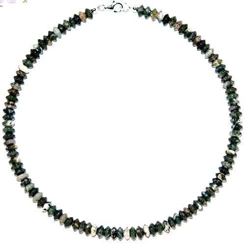 Achat Schmuck (Halskette) Moos-Achat Kette Verschluss 925er Sterling-Silber Modellnummer 5023 (Halskette Moos-achat)