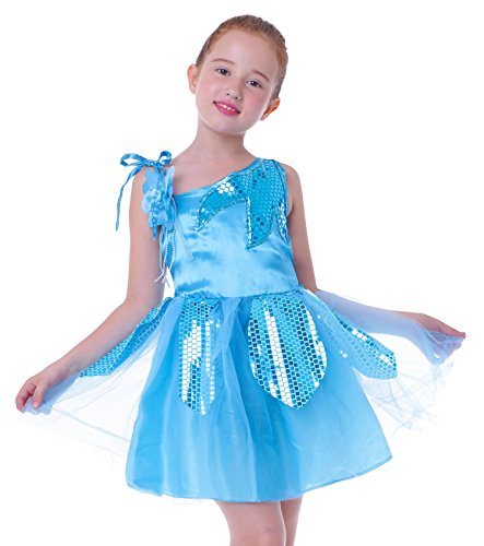 Mädchen Kind Schule zeigt Outfit Tanzkostume kleiden Karneval Halloween [Aqua, 122/128 (Herstellergr. L)] (Mädchen Verkleiden Outfits)