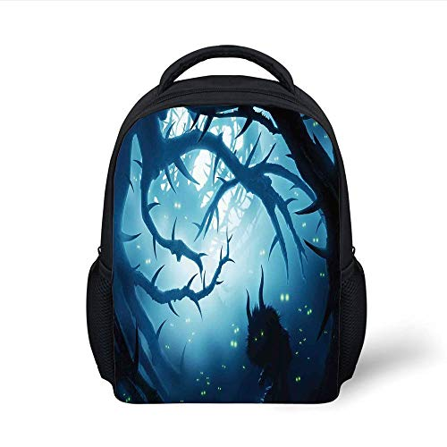 Kids School Backpack Mystic House Decor,Animal with Burning Eyes in Dark Forest at Night Horror Halloween Illustration,Navy White Plain Bookbag Travel Daypack (Top 10 Halloween Horror Nights)