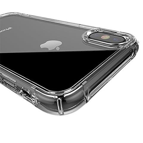 Coque iPhone X,Haroiwa Transparent Crystal Coque Ultimate Protection TPU Silicone Housse Etui Souple Anti-Rayures Anti-dérapante Anti-chute Anti-choc Coque pour iPhone X