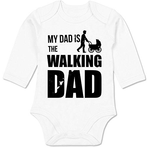 Shirtracer Sprüche Baby - My Dad is The Walking Dad - 12-18 Monate - Weiß - BZ30 - Baby Body Langarm