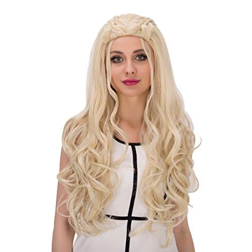 amback lang gelockt Braid Styling Cosplay Perücke blond für Daenerys Targaryen Khaleesi