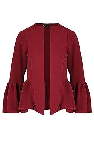 Women Ladies Casual Open Front Peplum Frill Bell Sleeve Blazer Coat Cardigan Top