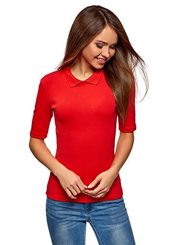 oodji Ultra Damen Baumwoll-T-Shirt mit Umlegekragen und Reißverschluss, Rot, DE 36 / EU 38 / S