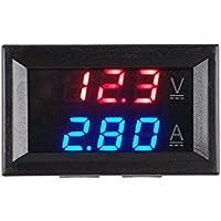 calistouk DC 0–100V 10A LED rojo azul Dual pantalla voltaje Digital Amperímetro para uso doméstico rojo + azul & 10A