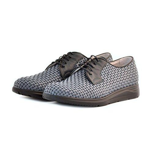 scarpe Soldini uomo stringate pelle intreccio blu 43