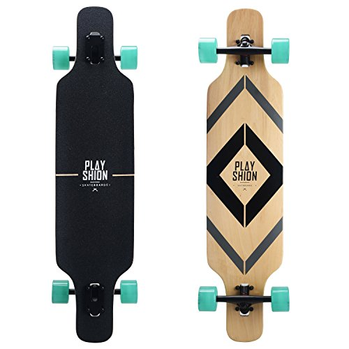 PLAYSHION Longboard 39 Zoll inkl. T-Tool, mit ABEC-9 Kugellagern, Drop-Through Freeride Skateboards Cruiser