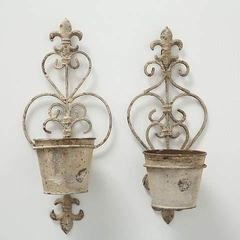 Set di 2 vasi da parete in ferro laccato, effetto usato