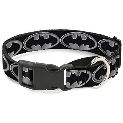 Shield Martingale Hundehalsband, schwarz/Silber, 3,8cm Wide-fits 45,7-81,3cm Neck-Large ()