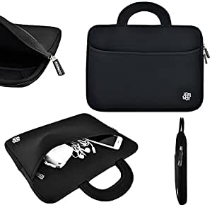"""Kozmicc 12"""" Inch Laptop Sleeve Case (Black/Gray) w/ Handle, Pocket for MacBook Air, Dell XPS 12, XPS 11, Latitude..."""