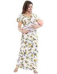 44387df187 TUCUTE Women s Beautiful Print with Invisible Zip Feeding Maternity Nursing  Nighty Nightwear.