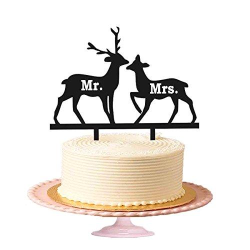 Hirsch Hochzeitstorte Toppers (Mr & Mrs mit zwei Hirsch Hochzeit Tortenaufsatz Jahrestag Kuchen Topper Acryl Kuchen Topper in Schwarz glänzend)