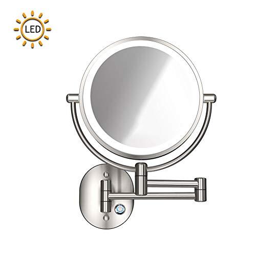 XNDCYX Espejo De Aumento De Pared, Espejo De Baño Giratorio Espejo De Maquillaje con Luz LED 10X, Espejo...