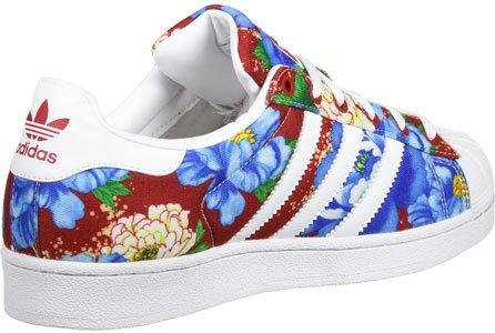 adidas Damen Superstar W Sneaker Rot Blau Weiß
