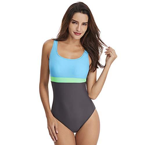 Womens swimwear EIN stück Damen Badeanzug mit U-Ausschnitt und hoher Taille Badebekleidung Enge rückenfreie athletische Ausbildung Badeanzug Badebekleidung (Color : Blau, Size : XL)