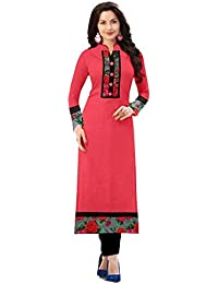 New Designer Peach Color Indo Cotton Casual Wear/daily Wear/office Wear Simple Plain Printed Semi-sttiched Straight...