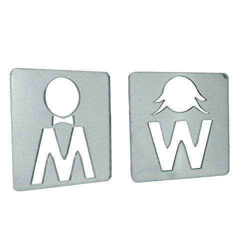 Maschio e femmina WC parete o porta segno specchi 9cm x 9,5cm, The Olivia (Femmina Segno)