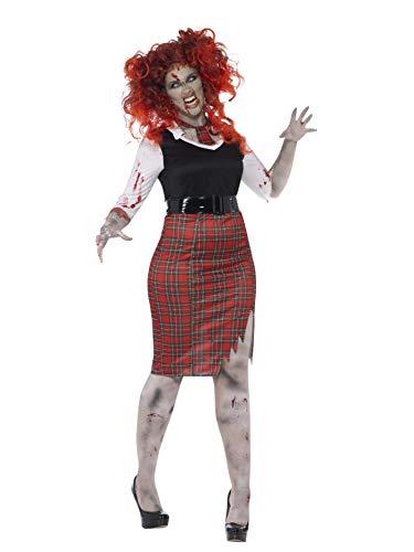 (Smiffys, Damen Zombie-Schulmädchen Kostüm, Kleid, Krawatte und Gürtel, Größe: X2, 44350)