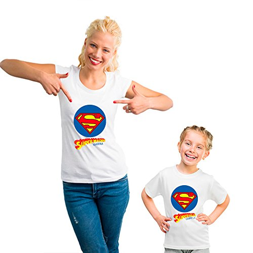 Desconocido Regalo Personalizable Para Madres: Pack de Camiseta Para Mamá + Camiseta Para Hijo/a o Body Para Bebé 'SuperMadre y SuperHijo/a' Personalizados con Sus Nombres