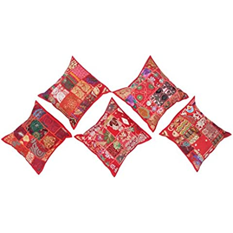 jth 5piezas 16* 16pulgadas bordado lentejuelas Patchwork Indian Sari manta almohada fundas de
