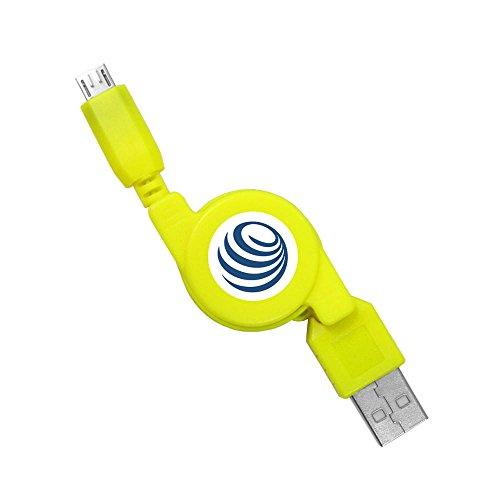 Aufrollbares Micro USB Kabel in 8 Farben (USB-A Stecker an Micro-B Stecker) für Datenübertragung Ladekabel Rollkabel Kabelrolle (Weiß, Pink, Rosa, Gelb, Grün, Blau, Lila, Violet, Schwarz) -