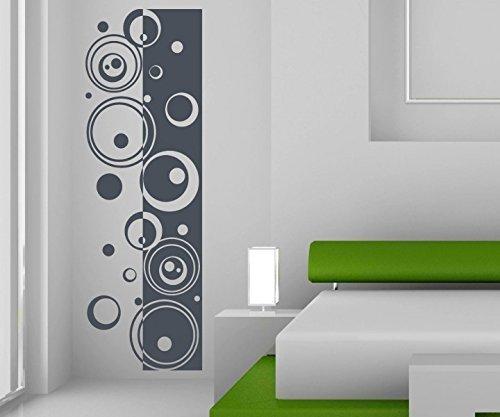 Wandtattoo Banner Wandbanner Retro Style Kreise Linien Punkte Kreis Aufkleber Säule Wohnzimmer Wandaufkleber 1U289, Farbe:Braun Matt;Höhe Banner:180cm