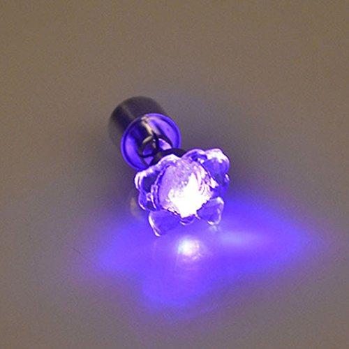QHGstore 1Pair Schmetterling LED Ohrringe Glühend leuchten Glänzend Ohr-Bolzen-Ohrringe Lila