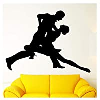 Wall Sticker Sports Wall Sticker Vinyl Decal Dance Dancing Couple Tango Romantic Decor Removable Love Art Mural Decor Bedroom Decoration 42X57Cm