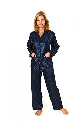 Normann Copenhagen Satin Pyjama Streifendessin - innen angeraut 251 201 94 010, Größe:40/42;Farbe:Marine