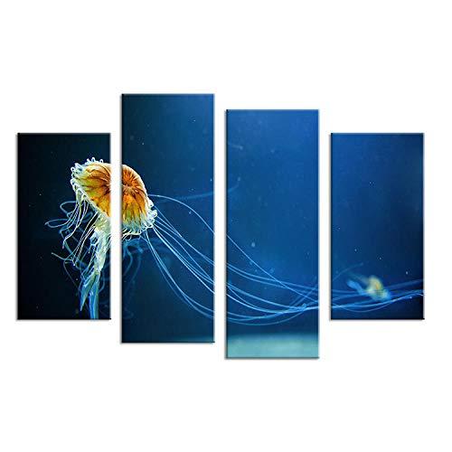 Tiefsee-Öl (RuYun 4 STÜCKE ölgemälde tiefsee Quallen Wandkunst gedruckt auf leinwand öl wandkunst gemälde für Wohnzimmer Dekoration Kein Rahmen 20x40 cmx2_20x50 cmx2)
