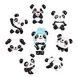 8 Stück Miniatur Panda Figuren, Niedlich Panda Mikro Landschaft Ornamente Statue Dekoration für Mini Fee Garten Puppenhaus Blumentopf Geburtstag Kuchen Topper Zuhause Handwerk Deko Kinder Spielzeug