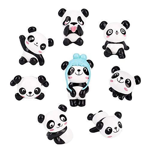 8 Stück Miniatur Panda Figuren, Niedlich Panda Mikro Landschaft Ornamente Statue Dekoration für Mini Fee Garten Puppenhaus Blumentopf Geburtstag Kuchen Topper Zuhause Handwerk Deko Kinder Spielzeug (Fee-geburtstagskuchen)