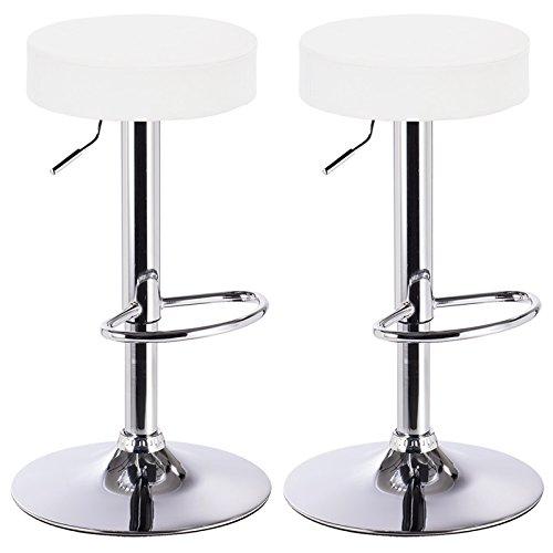 Woltu BH20-Serie 2 x taburete de la barra silla de la barra, imitación de cuero, acolchado grueso, acero cromado, nuevo diseño (blanco)