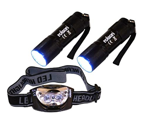 Rolson 61762 9-LED Torch and 3-LED Head Light Set (3