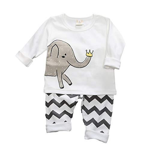 Blaward - Pijama Entero - Redondo - Manga Larga - para bebé niño Blanco Elefante 2.5 años