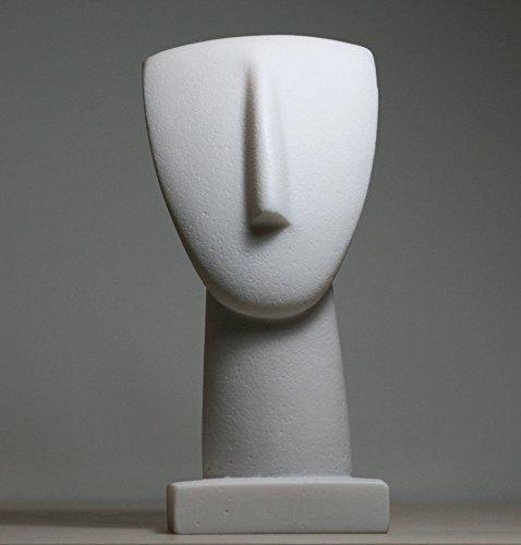 greekartshop Kopf eines Kykladenidols, Statuette, griechische moderne Kunst, Museumsskulptur, 17,5cm -