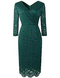 9d725f6dadf7f3 Damen Kleider Reizvoller V-Ausschnitt Langarm Gerade Rock Spitzenkleid Elegant  Kleider Elegant Schlank Abendkleider Partykleid