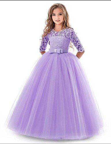 NNJXD Mädchen Festzug Stickerei Prom Kleider Prinzessin Hochzeit Kleidung Größe(130) 7-8 Jahre Lila