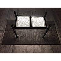 b4299c5f850dda Table basse, fait main, en cristal Klein 54120 Baccarat et acier Noir mat.