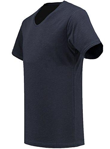 Black Rock Herren T-Shirt - 2er 3er 4er 5er Pack - V-Ausschnitt - Slim-Fit/Figurbetont - Oversize - Meliert - Kurzarm Vintage Shirt Navy 5er