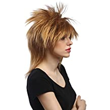 WIG ME UP ® - DH1190-K27 Peluca mujer Carnaval Halloween punk wave punki años 80 salvaje rubio