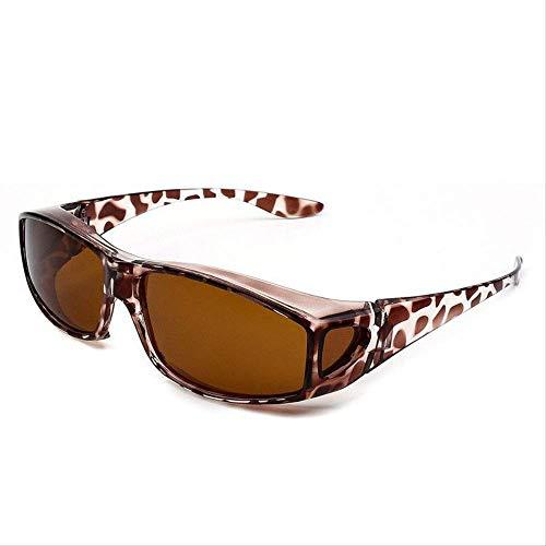 LKVNHP Hohe Qualität Clip Auf Sonnenbrille Männer Frauen Polarisierte Brille In Myopie Brillen Rahmen Fahrerbrille Blendschutz Uv400Leopard Rahmen