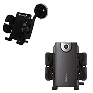 Sony Bloggie MHS-FS1 FS2 FS3 K/B/W compatible Windshield Mount for the Car / Auto - Flexible Suction Cup Cradle Holder for the Vehicle