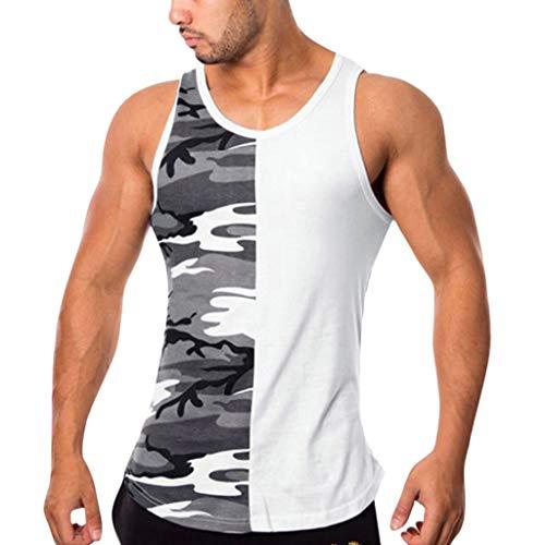 JKLEUTRW Tanktop Herren Sport, Mode Fitness Print Tops Atmungsaktives Slim Fit T-Shirt FüR MäNner Fitness Camouflage Splice Ärmelloses Bodybuilding Dicht Trocknende Weste Tank Top