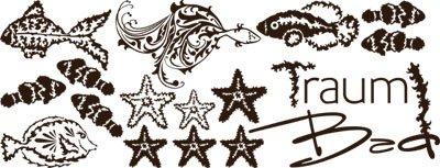 Adesivo da parete per bagno sogno bagno pesci con scritta Marrone